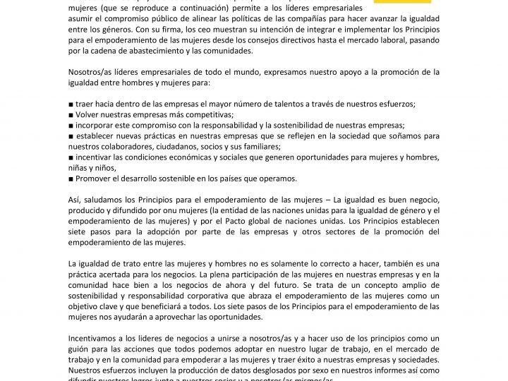 ANSEMAC, FIRMA PRINCIPIOS PARA EL EMPODERAMIENTO DE LAS MUJERES